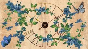 Artistic Blue Butterfly Clock Flower 1920x1080 Wallpaper