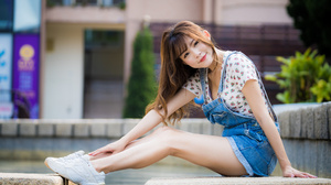 Asian Model Women Long Hair Dark Hair Shirt Ponytail Sneakers Jeans Dresses Depth Of Field Bushes Si 4562x3041 Wallpaper