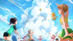 Pretty Cure Healin Good Precure Magical Girls Beach Sea Anime Girls 6499x4500 Wallpaper
