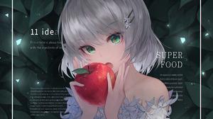 Apple Girl Green Eyes Grey Hair 4300x2500 Wallpaper