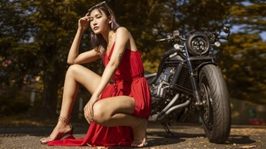 Asian Women Model Motorcycle Women With Motorcycles Dress Red Dress Red Clothing Women Outdoors Look 2048x1152 Wallpaper