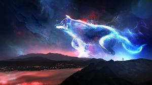 T1na Wolf Mountains Stars Mist Animals Cyan 2560x1440 Wallpaper