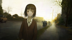 Anime Girls Anime Car Rain Cigarettes Road LADA Short Hair Brunette Brown Eyes Artwork Shion Mirudak 2000x1313 Wallpaper