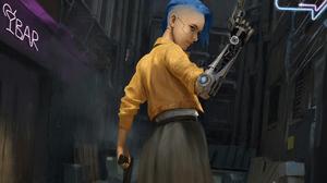 Blue Hair Cyberpunk Futuristic Girl Gun Weapon Woman 3840x2160 Wallpaper