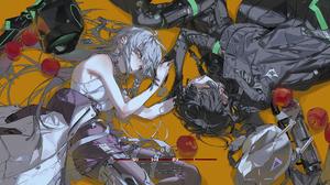 Anime Anime Girls Rolua Noa White Dress Apples Holding Hands Black Coat Original Characters Grey Hai 4345x1535 Wallpaper