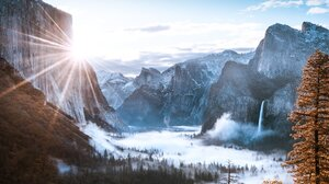 Landscape Nature Sunlight Mountains Pine Trees Forest Clouds Yosemite National Park Yosemite Falls 3276x2324 Wallpaper