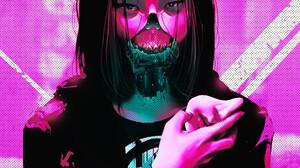 Rashed AlAkroka Artwork Pink Face Drawing Pink Background Women Cyborg Portrait Display Cyberpunk Di 1800x2215 Wallpaper