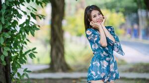 Asian Model Women Long Hair Dark Hair Depth Of Field Flower Dress Trees Ponytail 1920x1280 Wallpaper