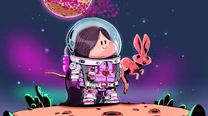 Girl Kangaroo Space Suit 3840x2161 Wallpaper