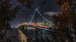 Bay Bridge Bridge Light Night San Francisco 2048x1365 wallpaper