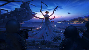 Cheng Li Science Fiction Digital Art Women Military Landscape Weapon Helicopter Creature Sky Soldier 1920x1082 Wallpaper