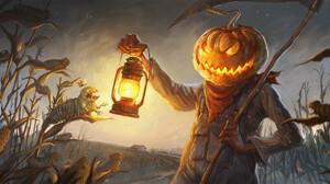 Pumpkin Halloween Horror 3000x1283 wallpaper