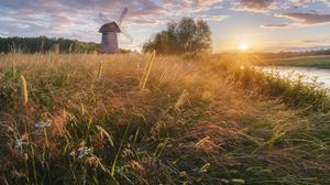 Windmill Sunset Grass Field Water Sunlight Sun Warm Warm Light Nature Outdoors Trees Landscape Photo 1900x1343 Wallpaper