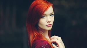 Redhead Women Blue Eyes Lips Green Eyes 1440x810 Wallpaper