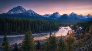 Mountain River Railroad Banff National Park Alberta Canada 2048x1365 Wallpaper