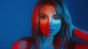Grigoriy Lifin Model Women Blue Eyes Brunette Face Mouth Lips Lipstick Bare Shoulders Hands In Hair  1920x1280 wallpaper