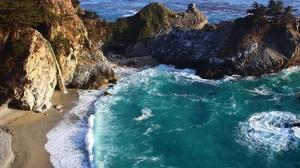 Beach Big Sur California Cliff Coast Mcway Falls Rock 2560x1440 wallpaper