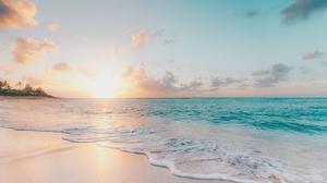 Beach Cloud Horizon Nature Ocean Sky Sun Sunset Sunshine Water 3840x2160 Wallpaper