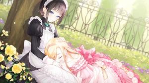 Maid Sleeping Blue Eyes Closed Eyes Frill Dress Blonde Brunette Hand On Head 2047x1447 Wallpaper