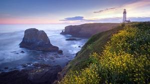 Coast Horizon Lighthouse Ocean 2000x1125 Wallpaper
