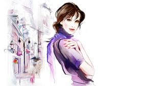 City Street Vector Woman 6815x3833 wallpaper