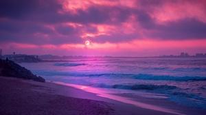 Beach Ocean Purple 3840x2160 Wallpaper