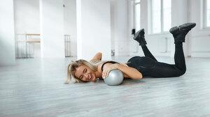 Alexander Skripnikov Women Blonde Long Hair Pants Black Clothing Sneakers Laughing Gyms 2400x1600 wallpaper