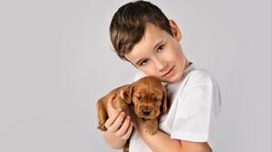 Little Boy Cute Puppy Baby Animal 4807x3205 Wallpaper