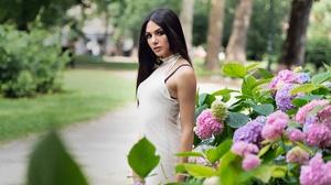 Flower Long Hair Black Hair White Dress Depth Of Field Hydrangea 3000x2000 Wallpaper