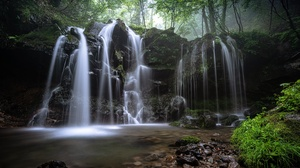 Nature Rock Stream Vegetation Waterfall 4354x2687 wallpaper