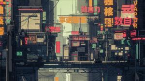 Cyberpunk City Lights Illustration Digital Art Urban Building Anime Futuristic Science Fiction Japan 1920x1080 Wallpaper