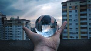 Ball Glass Design Glass Door Russia Hands Globe Sphere Urban 4000x2992 Wallpaper