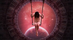 Artistic Fantasy Girl Manipulation Pink Space Swing Window Woman 1824x1592 Wallpaper
