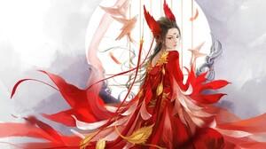 Bird Fantasy Girl Moon Red Woman 1920x1069 Wallpaper
