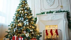 Christmas Christmas Ornaments Christmas Tree Fireplace Gift 5460x3651 Wallpaper