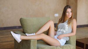 Nikita Rubtsov Model Women Blonde Blue Eyes Tank Top Shorts Legs Sneakers Sitting Armchair Looking A 2048x1363 Wallpaper