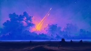 Digital Painting Sky Clouds Landscape Rocket BisBiswas 1920x1080 Wallpaper