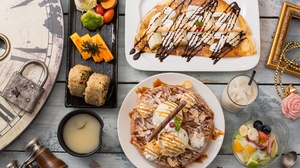 Food Ice Cream Sweets Crepes Waffles Flowers Cinnamon Chocolate Sauce Wooden Surface 2048x1365 Wallpaper