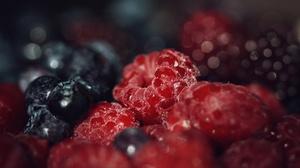 Macro Fruit Raspberry Blueberry 2048x1365 Wallpaper