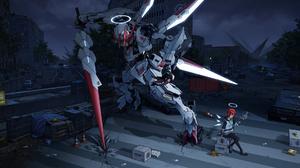 Clouds Mech Building Car SMG Wings Redhead Halo Spear Barbatos Gundam Arknights 1920x1080 Wallpaper