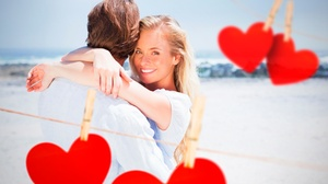 Blonde Couple Heart Love Man Romantic Smile Woman 5600x3733 Wallpaper