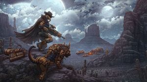 Bounty Hunter Cowboy Moon Night Robot 2500x1187 Wallpaper
