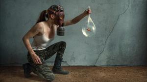 Women Model Women Indoors Gas Masks Goldfish Animals Fish 3840x2160 Wallpaper