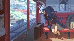 Anime Anime Girls Artwork Train Station Train Animal Ears 2264x1200 Wallpaper