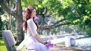 Depth Of Field Flower Girl Long Hair Model Purple Hair Woman 7360x4499 Wallpaper