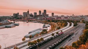 Photography Water Sunset Clouds Train City Building Bridge Minnesota USA 1920x1080 Wallpaper