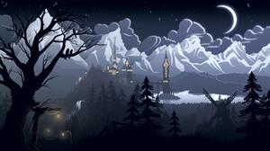 Fredrik Persson Digital Art Forest Mountains Castle Lake Moon Lantern Windmill 1920x1080 Wallpaper