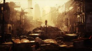Men Car Destruction Apocalyptic Fantasy Art Digital Art CGi Concept Art Environment 3D Science Ficti 1920x1080 Wallpaper