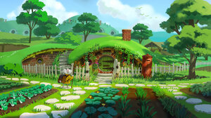 Ryo Yambe Rodent Stairs Plants Trees Clouds Backpacks Chimneys House Walkway Mice Carrot Vegetables  2500x1380 Wallpaper