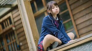 Asian Women Model Dark Hair Long Hair Depth Of Field Sitting Legs Crossed School Uniform Pouting 1920x1280 Wallpaper
